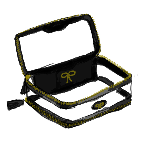 I have been eyeing the Anya Hindmarch In-Flight travel case for years - it's split into two clear compartments for Take Off and Landing, and the transparent case is usually acceptable to keep your liquid makeups and such in. I'm bummed the neon yellow is no longer available, but The black is pretty, too. It's pricy, but I'd love to have one for my carryon.