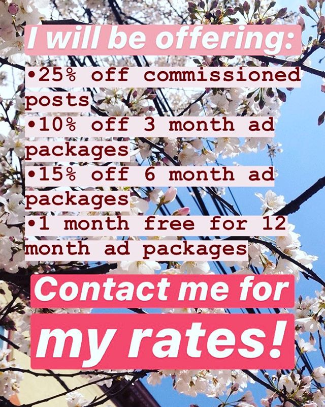 Yes that's right! Through my birthday, May 1st, I will be offering: 🌸25% off sponsored posts 🌸10% off 3 month ad packages 🌸15% off 6 month ad packages 🌸1 month free for 12 month ad packages  I am also: 🌱putting together a list of collaborations I'm looking to fund and/or obtain products for. Let me know if you want me to email it to you! 🌱putting together a list of posts I'd like to sponsor! Some really cool stuff you can support and get advertised for the your part! 🌱I'm looking for sponsors for a podcast that's forming to center and uplift sex worker voices and stories in response to FOSTA/SESTA and other oppressions being aimed at them. We need to listen, and I'm looking for sponsors who will be directly compensating the SWer collaborators for their time and knowledge, as well as a trans transcriptionist and myself. Finances as well as a list of ethics will be displayed publicly once a name is chosen and the site built/hosted. This is not discounted, but if you're a company that's looking to support SWers directly in the wake of legislation that endangers their lives, please get in touch. (I'm also looking for collaborators! DM me the best way to get in touch if you're interested). You can 📬email me at caitlin (at) sex-ational (dot) com.