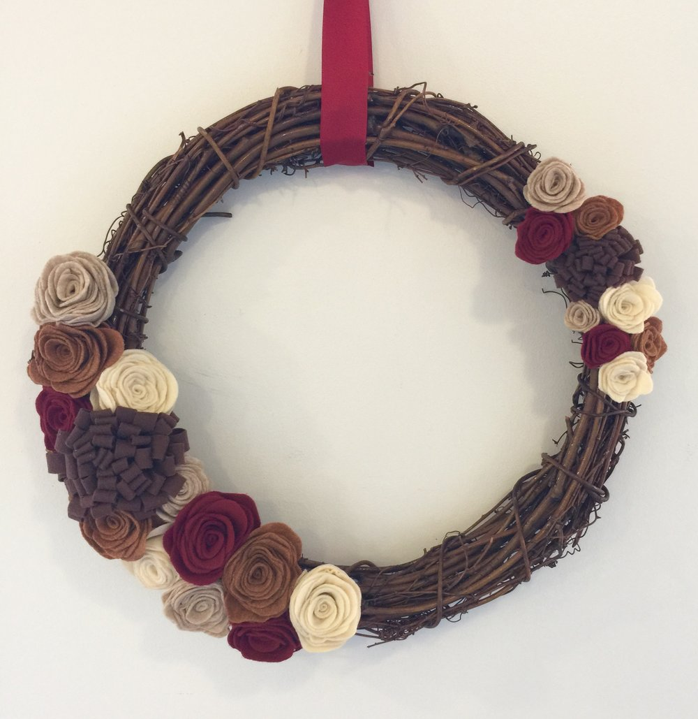 fall felt flower wreath the makery