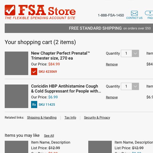 FSA shopping cart