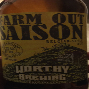 Worthy Brewing Farm Out Saison Belgian Ale   It tastes similar to other Belgian Ales, such as blue moon, so it really isn't anything special. There is a subtle spice to the beer, which does add to the experience of the beer overall.  Rating: 5/10