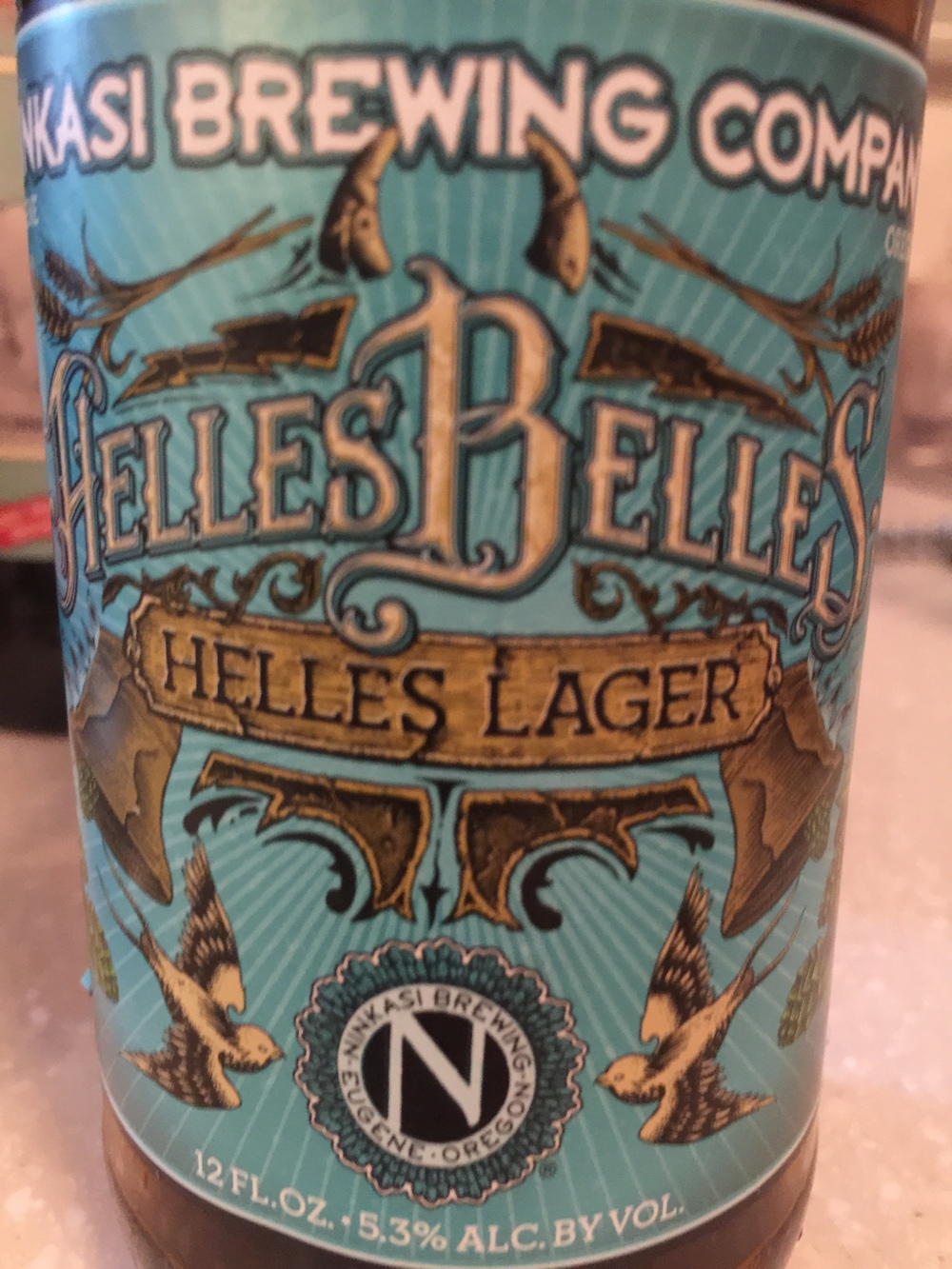 Ninkasi Helles Belles Helles Lager   A sweet, sweet lager. Cool and refreshing, a grade above your cheap lagers that you can grab off the shelf. Ninkasi knocks it out of the park with this lager.  Rating: 7.25/10