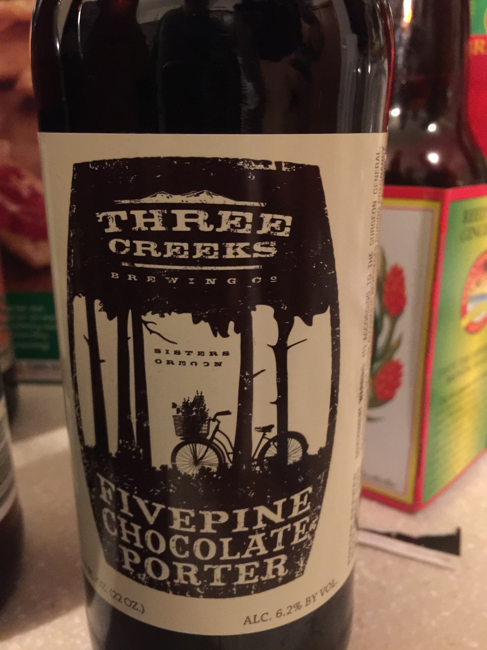 Three Creeks Brewing Five Pine Chocolate Porter   The Fine Pines Porter is a great Porter. Subtle chocolate flavors flood your taste buds long after you've swallowed your swig. But it is definitely a low alcohol content Porter, so you'll need to drink a lot.     7.75/10