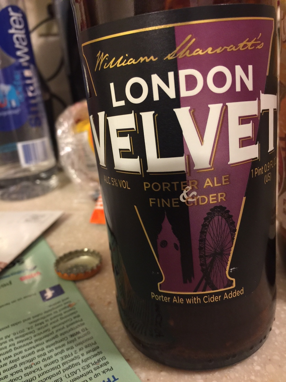 London Velvet Porter and Cider   A surprisingly flavored beer, the initial taste had an overwhelming contrast of flavors and at first was a little off putting. After you get used to it, its an alright beer, but a bit of an acquired taste.  Ratings:  Josh: 4.5/10  Wook: 3/10  Average: 3.5/10