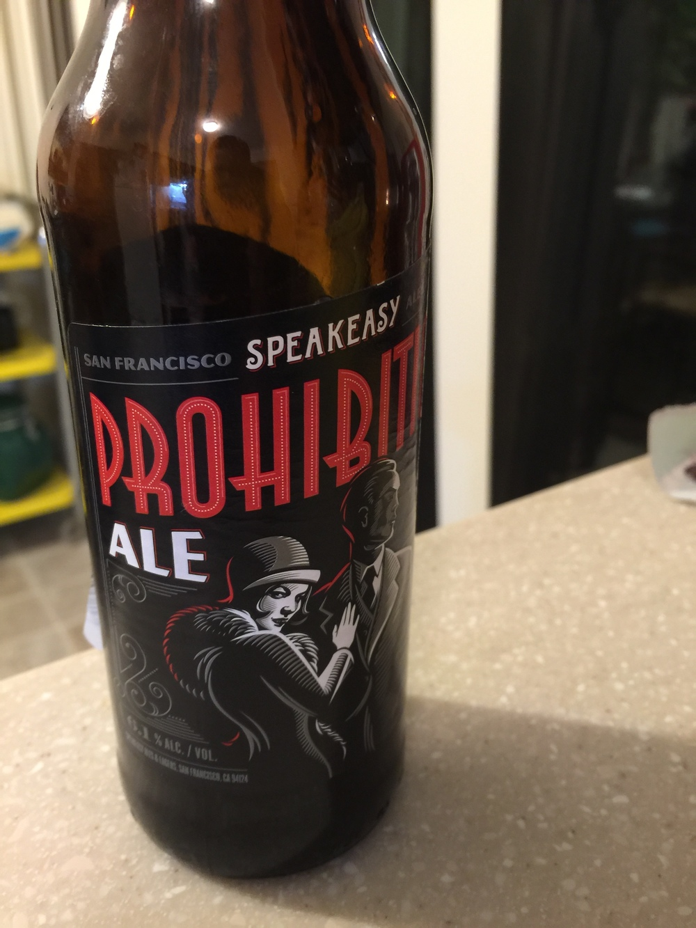 Speakeasy Prohibition Ale   A tasty beverage that looks cool while you are drinking it. It's got a nutty overtone to it, similar to the Noble Scot Ale. The best ale from the week's selection.  Ratings:  Josh: 8/10  Wook: 8/10  Average: 8/10