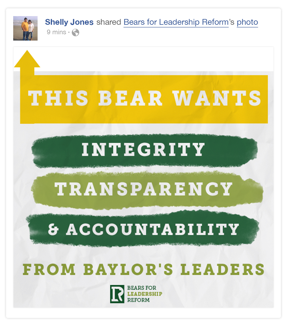 Engaging graphics were posted to prompt Facebook Fans to share their support for Bears for Leadership Reform and to aid in the pages organic growth.