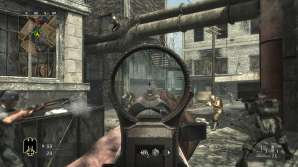 A multiplayer match in the World War II game Call of Duty: World at War, showing the player fighting for the German army