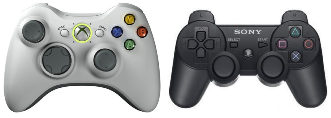 Xbox 360 (left) and PlayStation 3 controllers