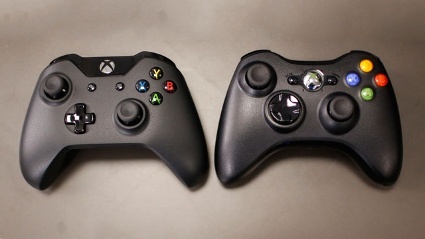 Xbox One (left) and Xbox 360 controllers