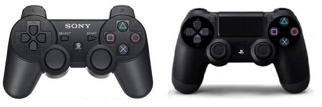 Dualshock 3 (left) and Dualshock 4 controllers