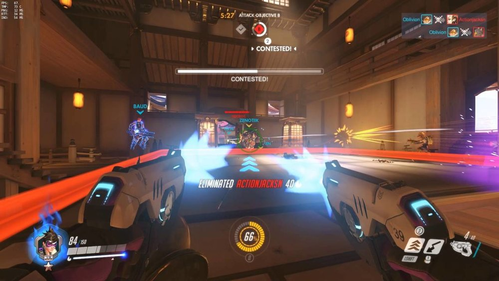 Attacking the second point on the Assault map Hanamura