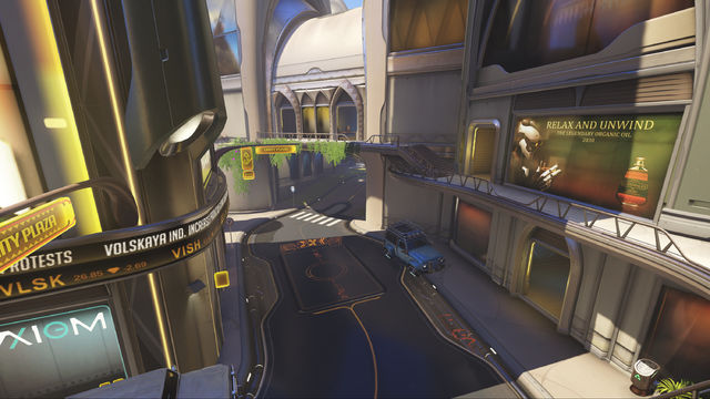 The streets of Numbani leading to the tunnel