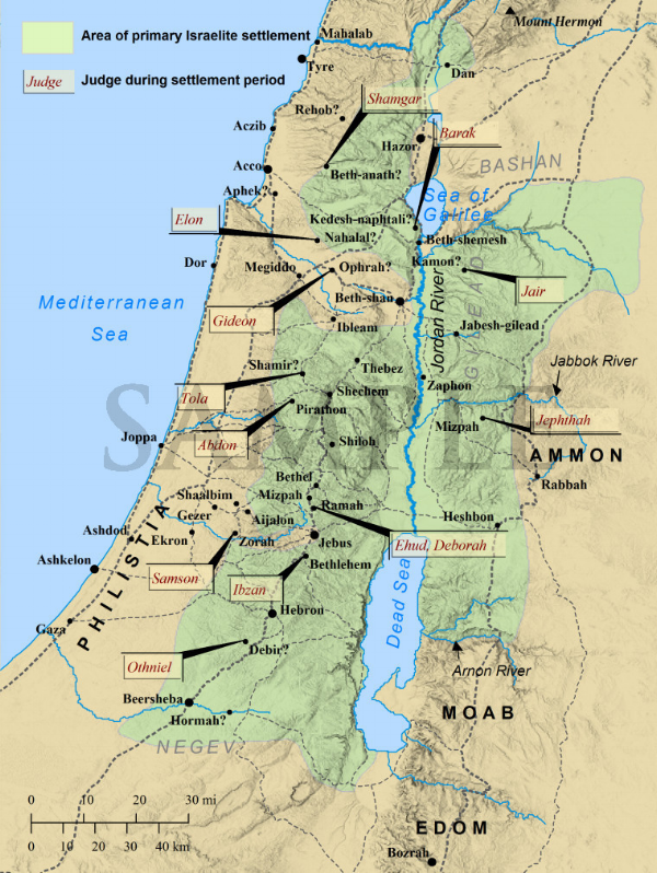 Map of Israel during the time of the Judges.png