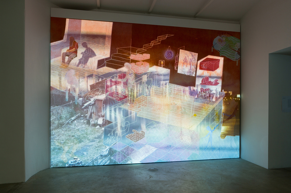 Home,    2014,    video projection on ink jet printed wall mural, running time 10 minutes 'An Ocean Between the Waves' group show curated by Roland Schöny, at Franz Josefs Kai 3, Vienna Austria review:  http://www.artmagazine.cc/content76503.html