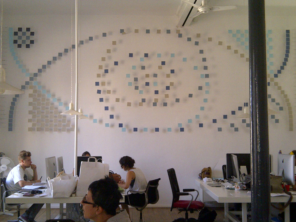 Abacus ,   2012, office of Marimo Brand Life, Rome Italy,  paper and monofilament