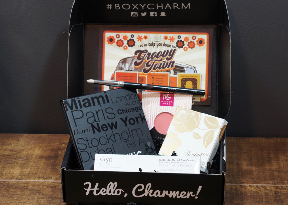 The contents of the November 'Groovy Town' BoxyCharm.