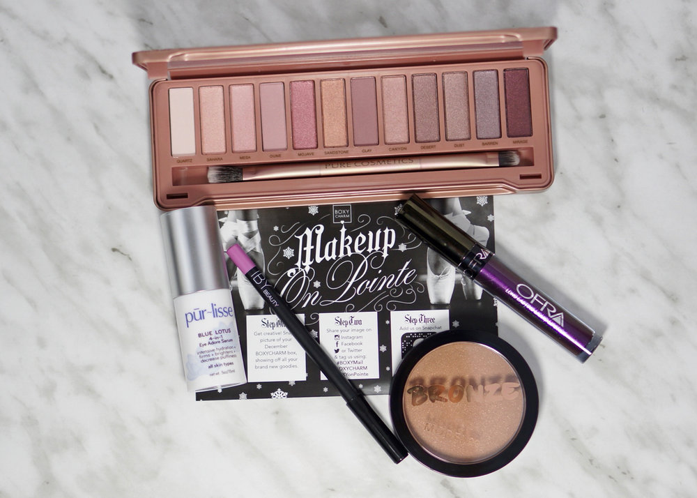 The contents of the December 'Makeup On Pointe' BoxyCharm.