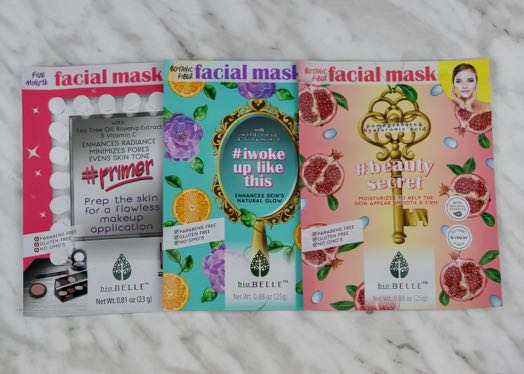 3 Sheet Masks by Biobelle Cosmetics.