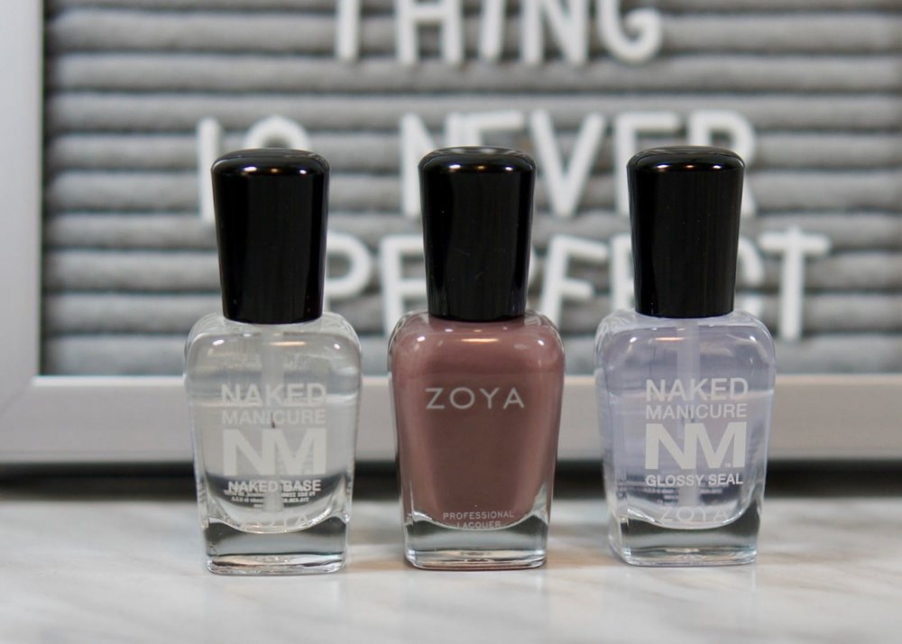 Zoya Naked Manicure Base Coat, Normani polish, and Naked Manicure Glossy Seal.