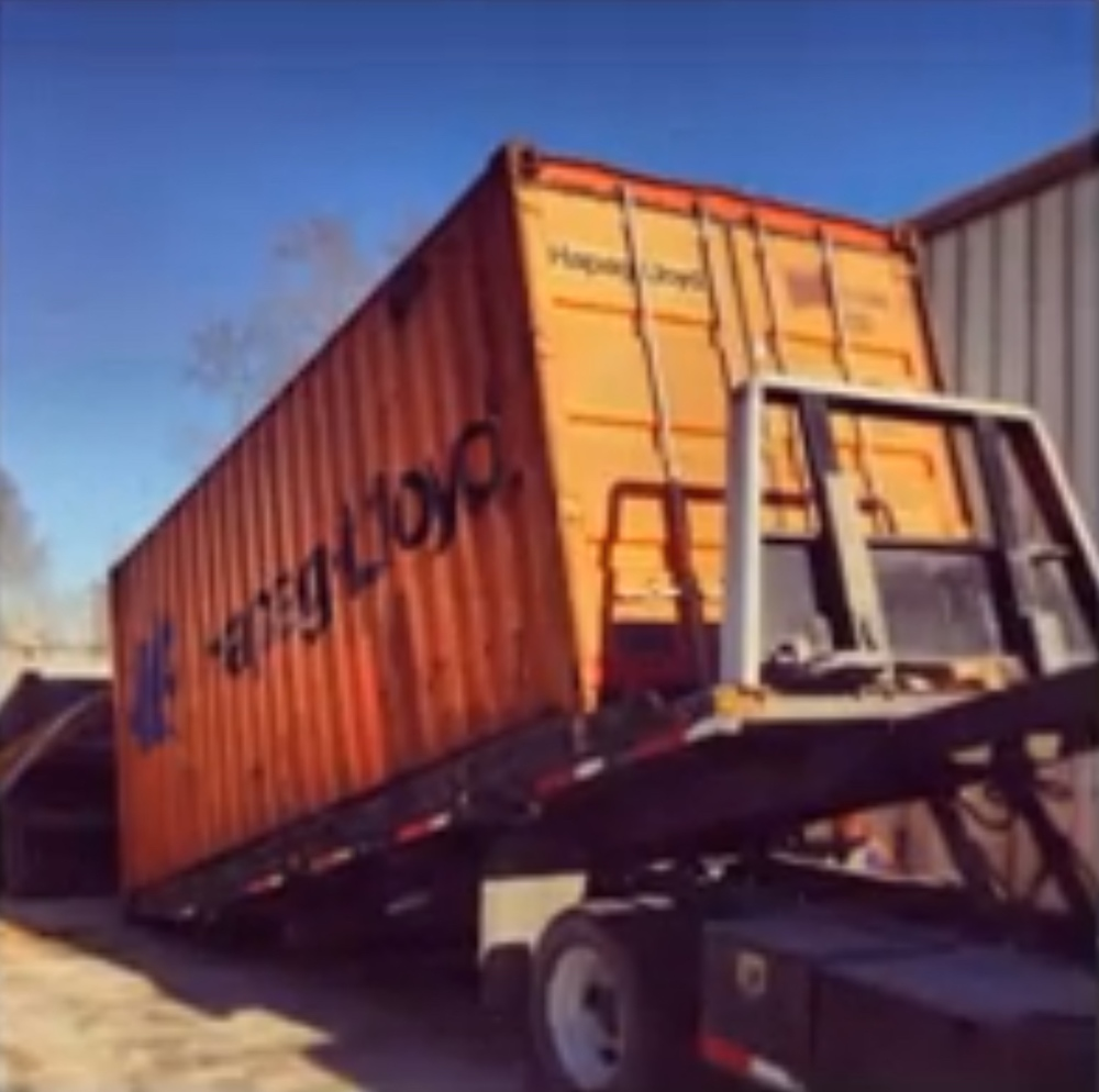 Delivery of the shipping container!