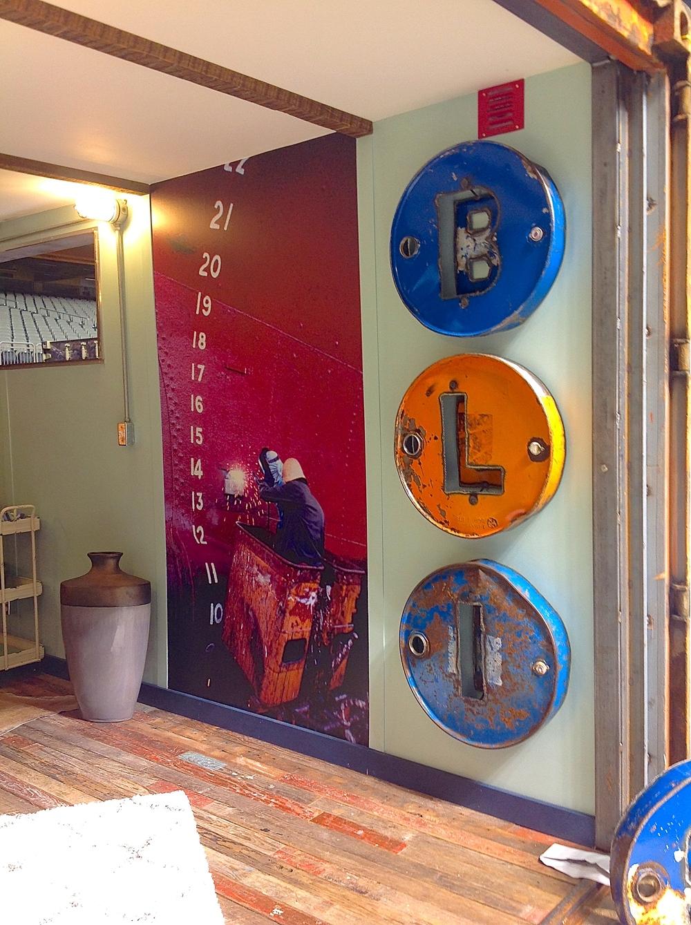 Metal barrel decor on the wall!