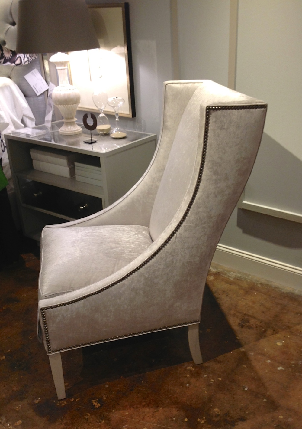 In love with this sleek, beautiful accent chair! It would be perfect in a master bedroom or living area!