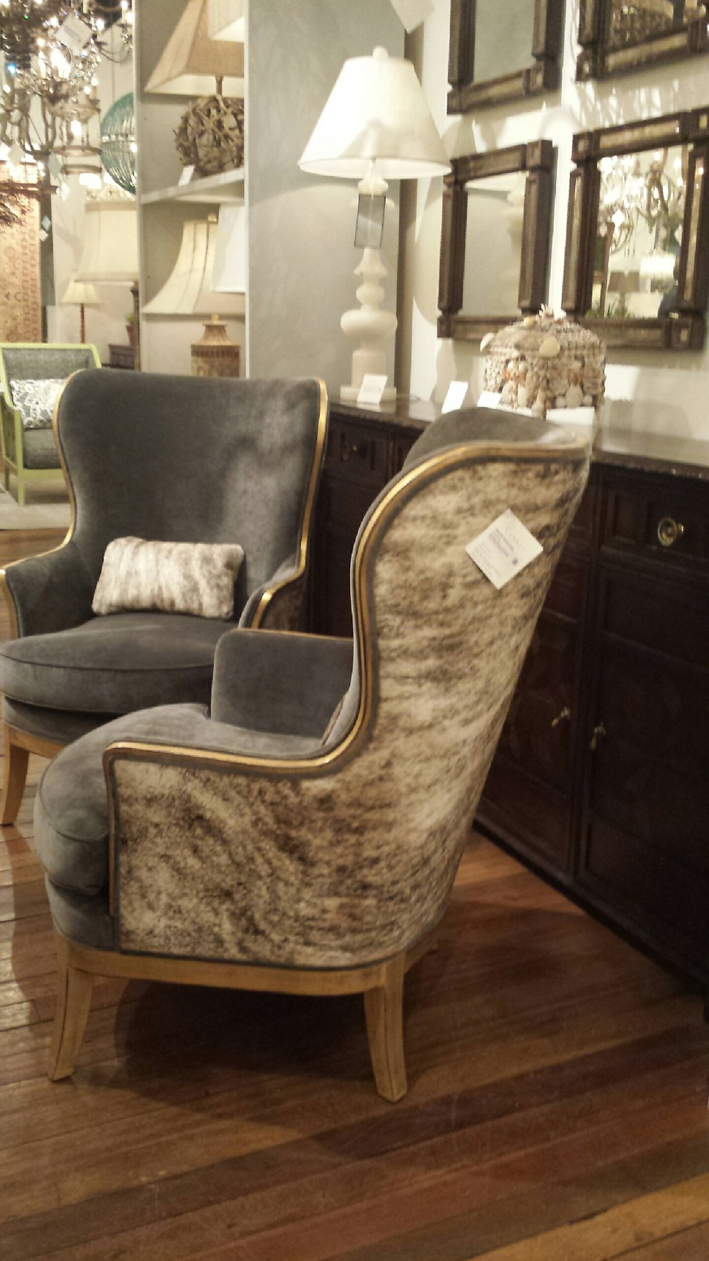 Gorgeous chairs with hair on hide and suede!