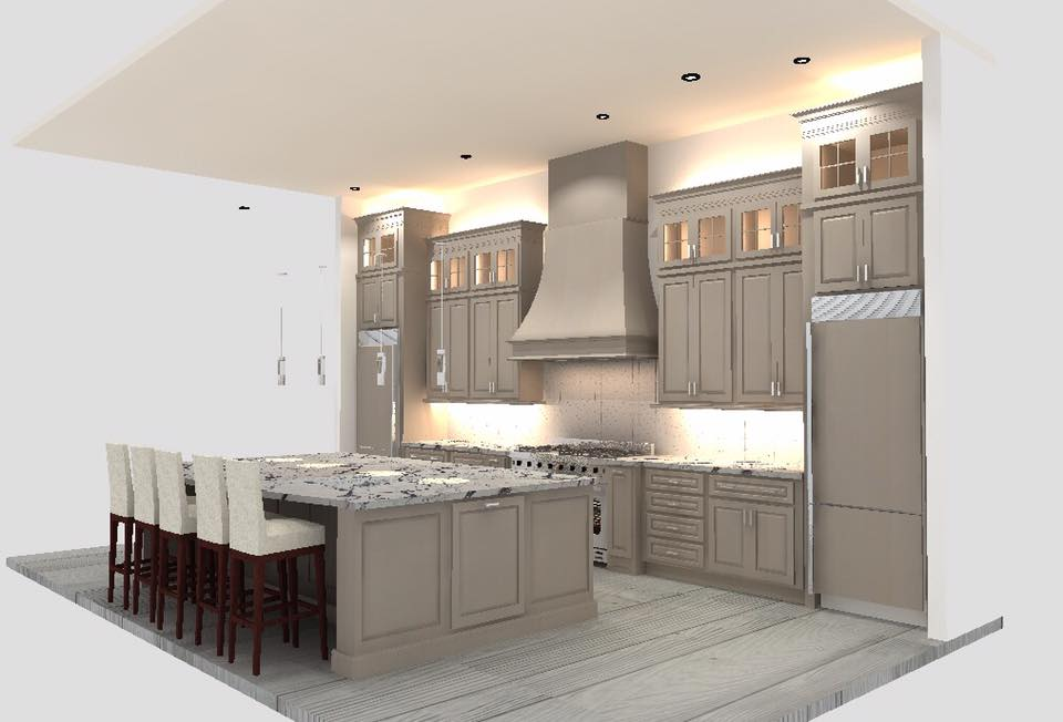 3D Render of the kitchen layout