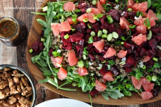 These  flavorful Maple Chipolte Walnuts finish this Arugula salad beautifully!  Great for the holidays!