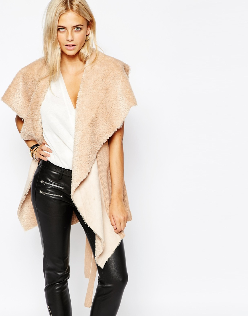 ASOS | Oasis Drape Faux Shearling Sleeveless Jacket