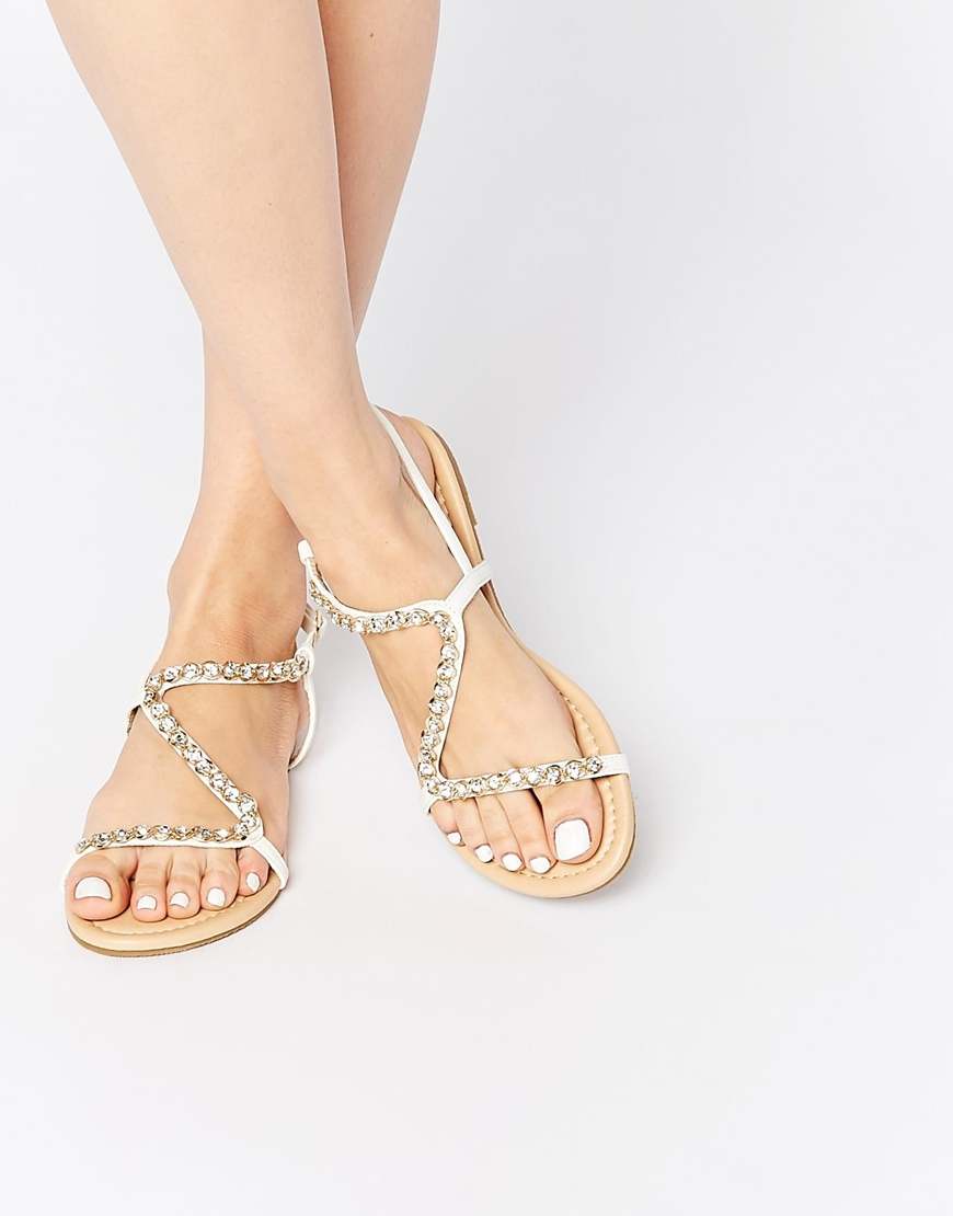 ASOS Flirty Embellished Flat Sandals