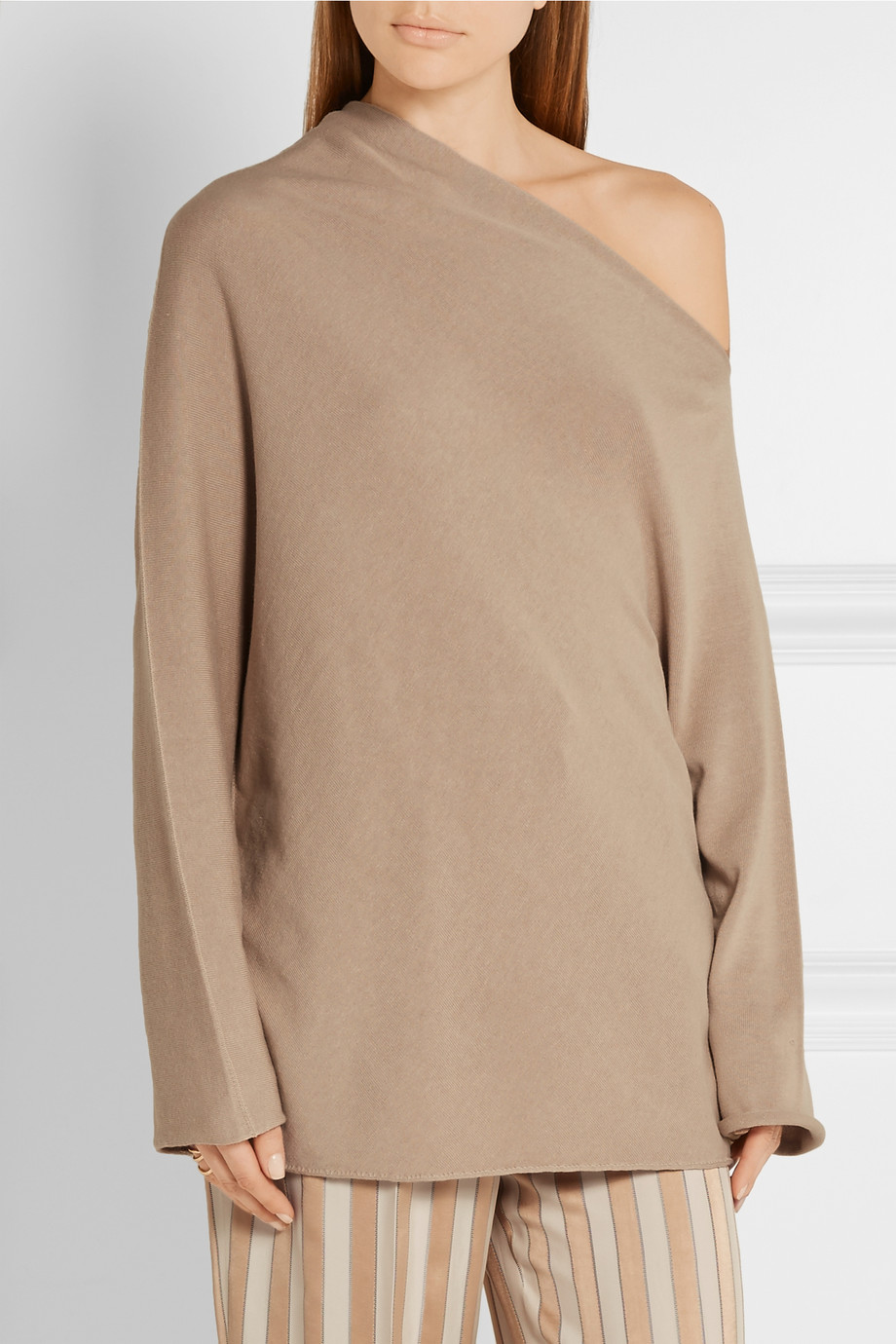 THE ROW Nandac one-shoulder Pima cotton and silk-blend sweater