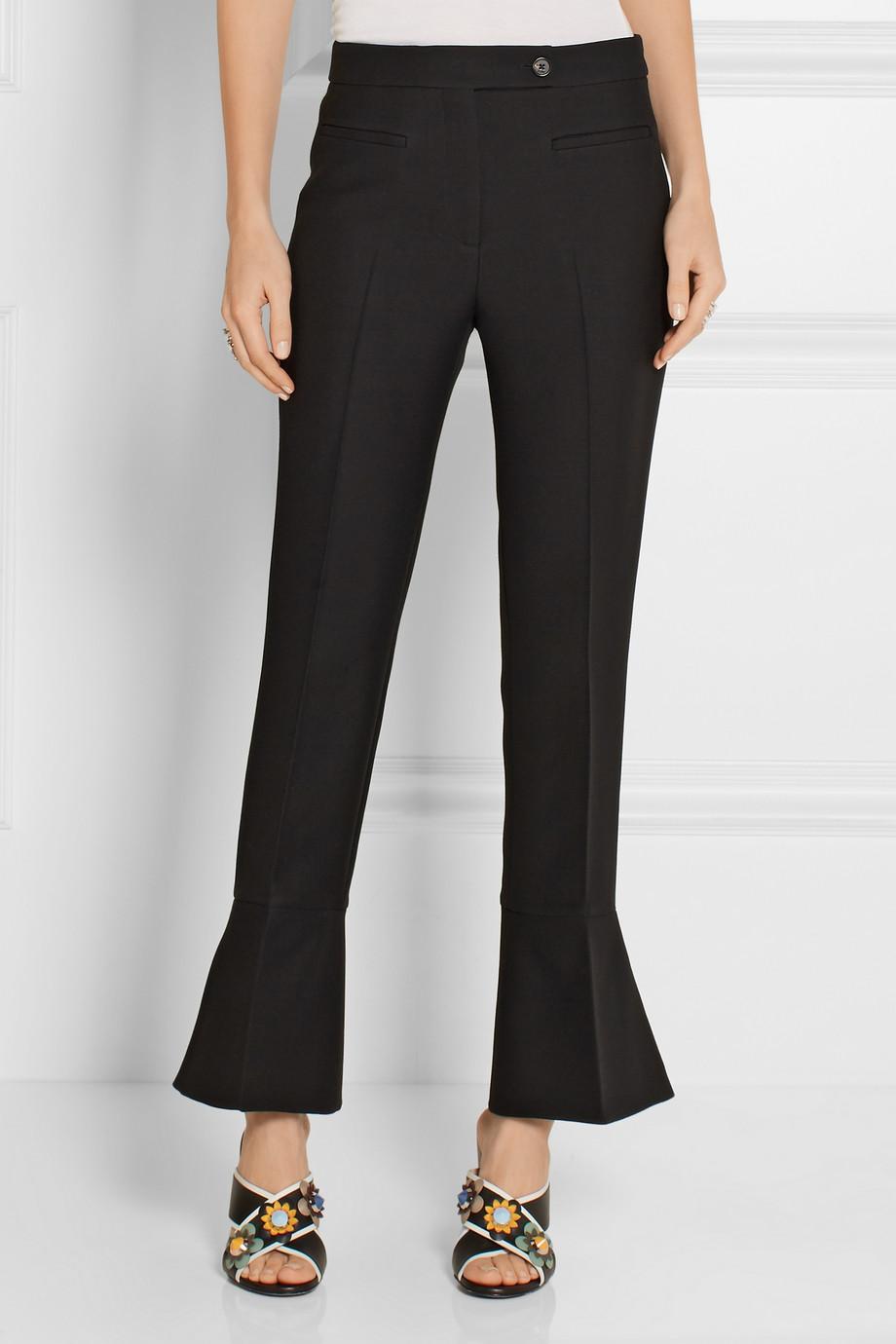 FENDI Wool and silk-blend flared pants