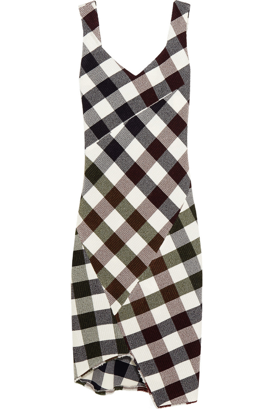 VICTORIA BECKHAM Gingham stretch-knit dress