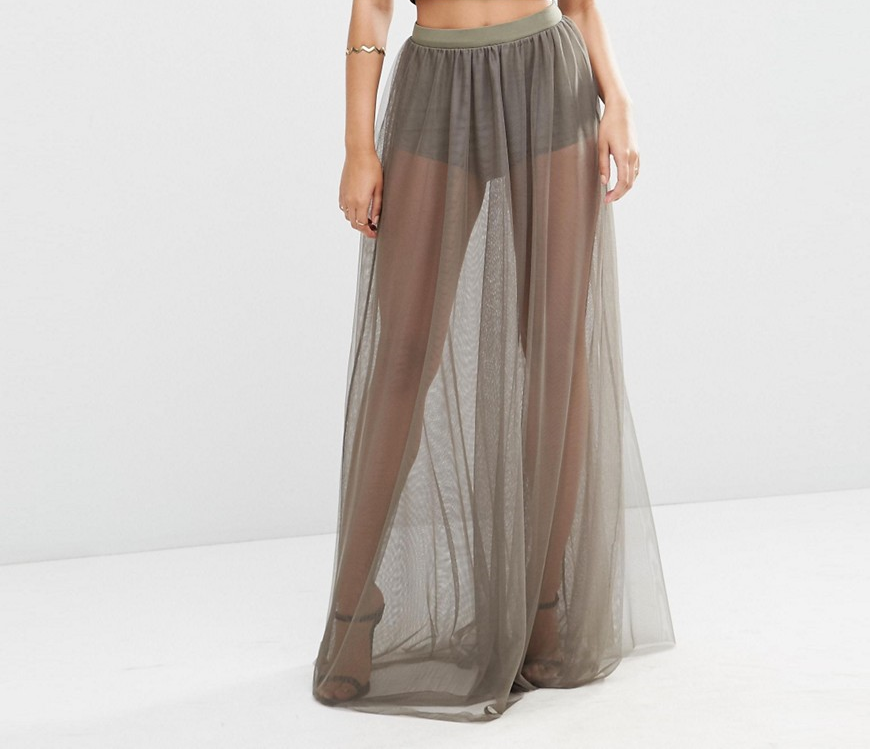 Asos Sheer Maxi Skirt w/Knicker Short