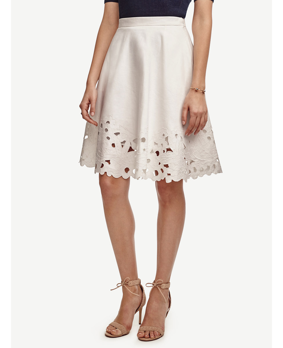Ann Taylor Embroidered Swing Skirt