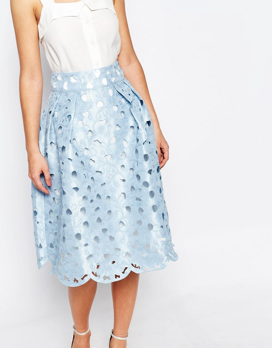 Chi Chi London Cutwork Midi Skirt