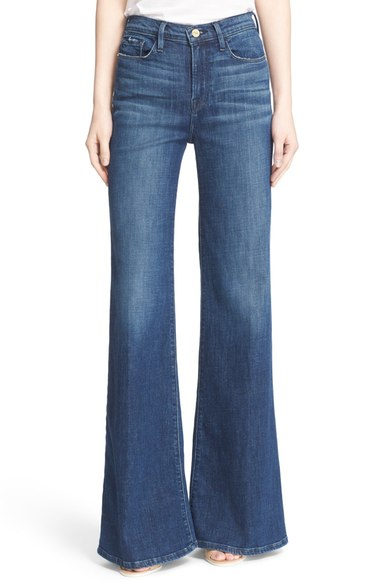 Frame High Rise Wide Leg Flare Jeans