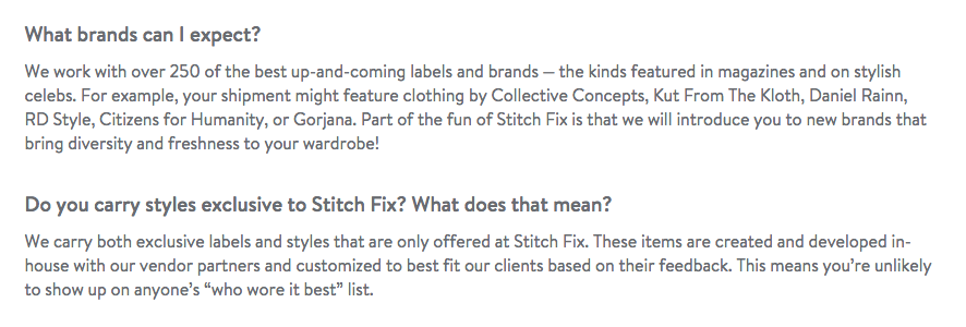 "From ""About our clothing"" FAQ's on Stitchfix.com"