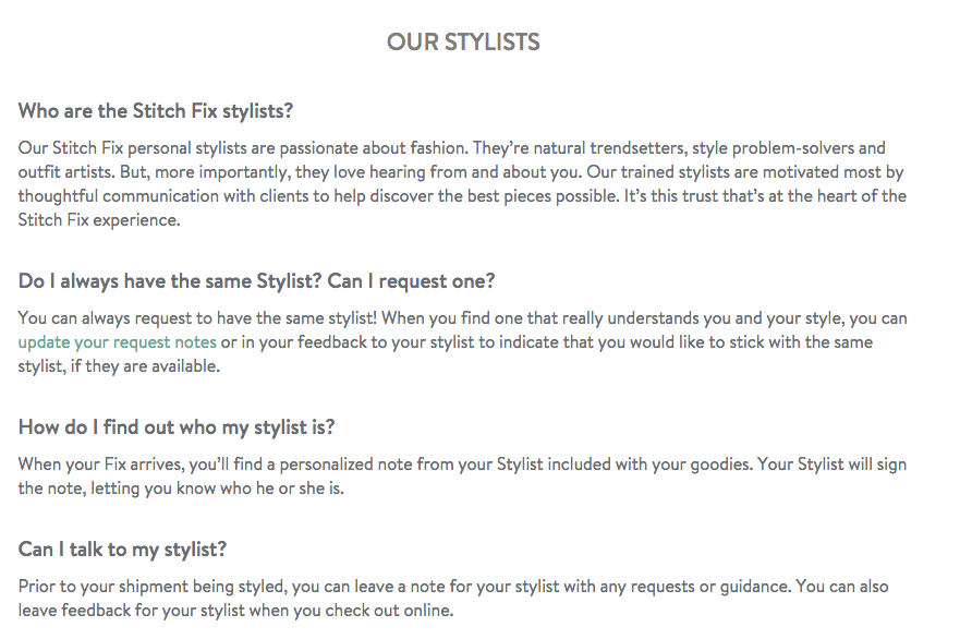 "From ""Our Stylists"" FAQ's on Stitchfix.com"