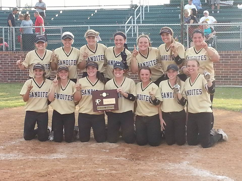 The Sand Springs Lady Sandites showing off their Regional Championship plaque