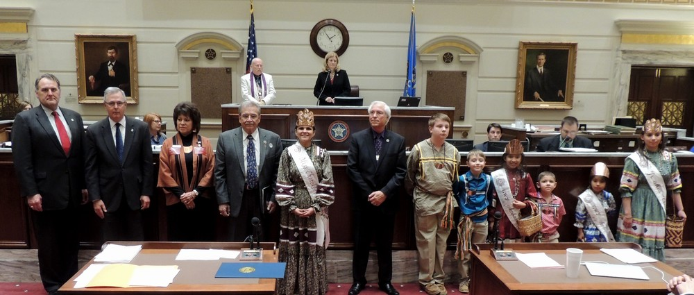 Oklahoma State Senate honors Cherokee Nation. (Left to right) Senate Minority Leader John Sparks, Senate President Pro Tempore Brian Bingman, Victoria Vazquez, Deputy Speaker of the Tribal Council, Deputy Principal Chief S. Joe Crittenden, Miss Cherokee Ja-Li-Si Pittman, Principal Chief Bill John Baker, Little Cherokee Ambassadors Nathan Lowrey, Max Purget, Maysi Fields, Logan Dreadfulwater, Kashyah Teehee and Jr. Miss Cherokee Madison Whitekiller listen as a Senate Citation honoring the Cherokee Nation is read in the Senate Chamber.