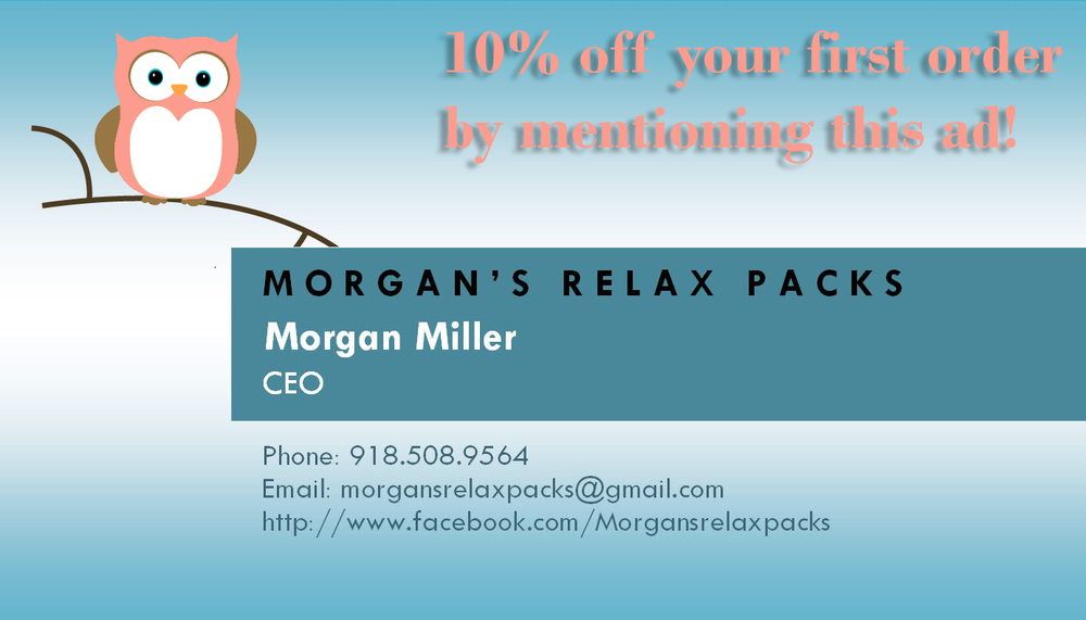 Morgan's Relax Packs are handcrafted heat packs designed for maximum muscle relief at affordable pricing.