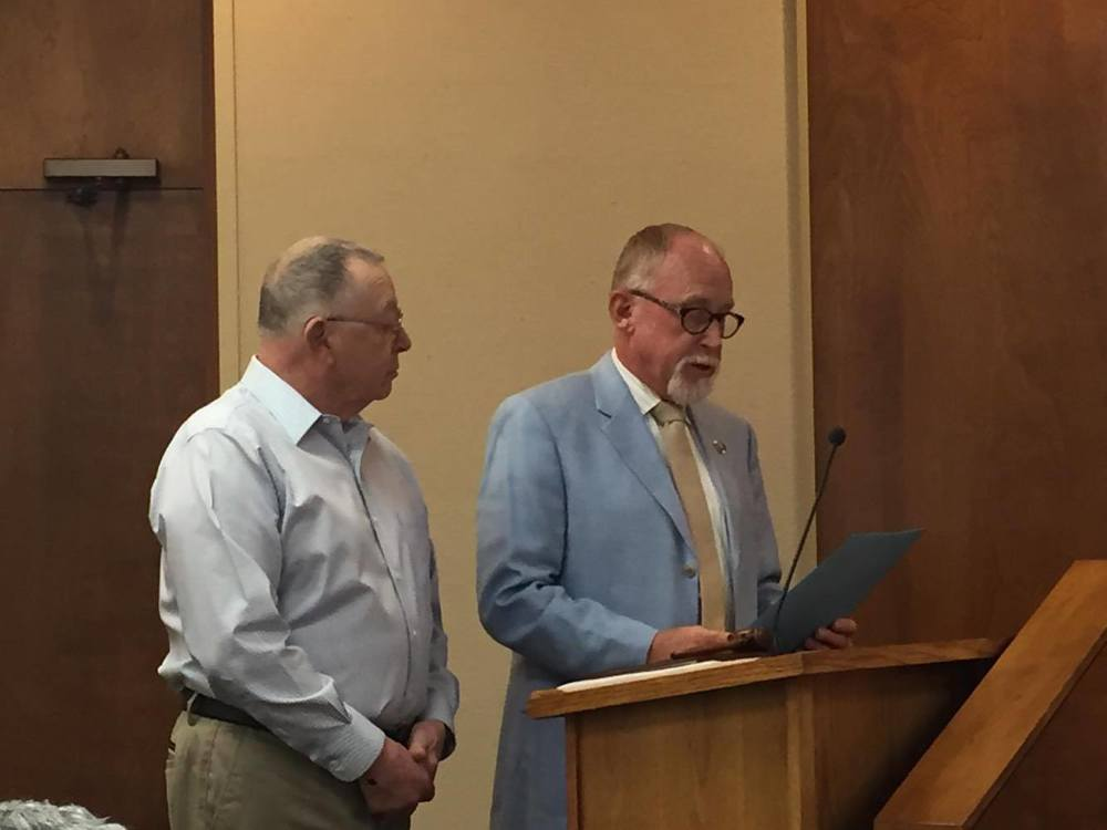Mayor Burdge reads and presents a proclamation recognizing L. Merle Parsons for his service