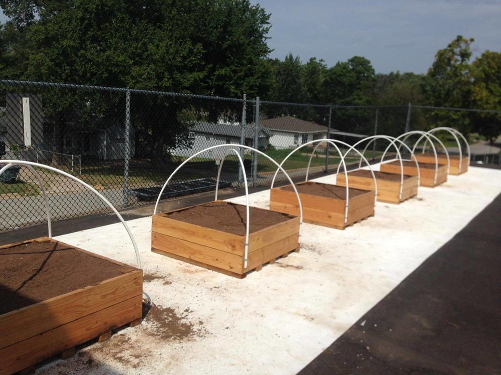 Gardens constructed by Tyler Morrison at the new Garfield STEAM Academy
