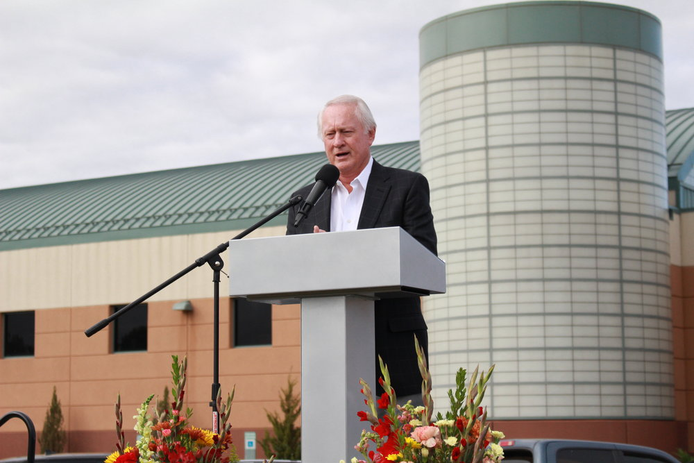 Mike Case gives an address at the Case Community Park groundbreaking ceremony. (Photo: Scott Emigh)