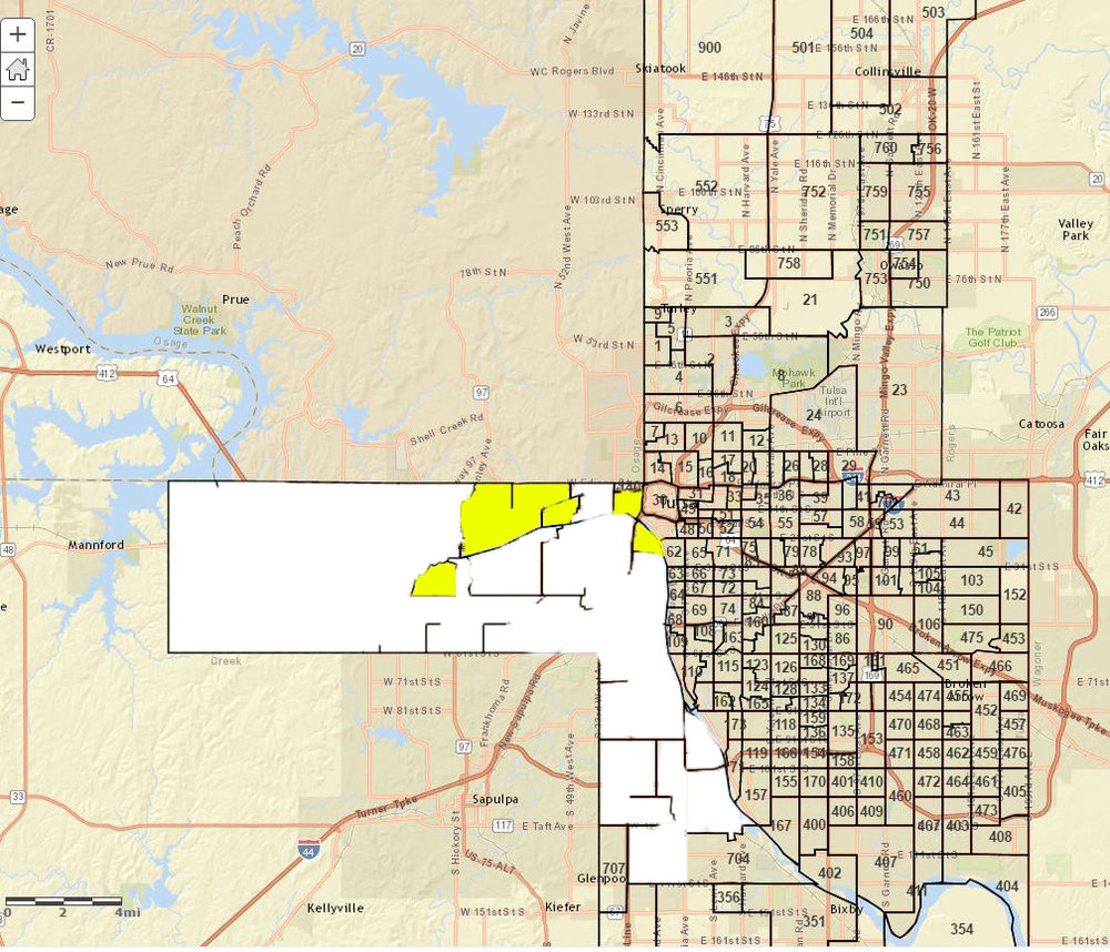 Precincts in yellow were won by Lloyd Snow, precincts in white were won by Dan Newberry.