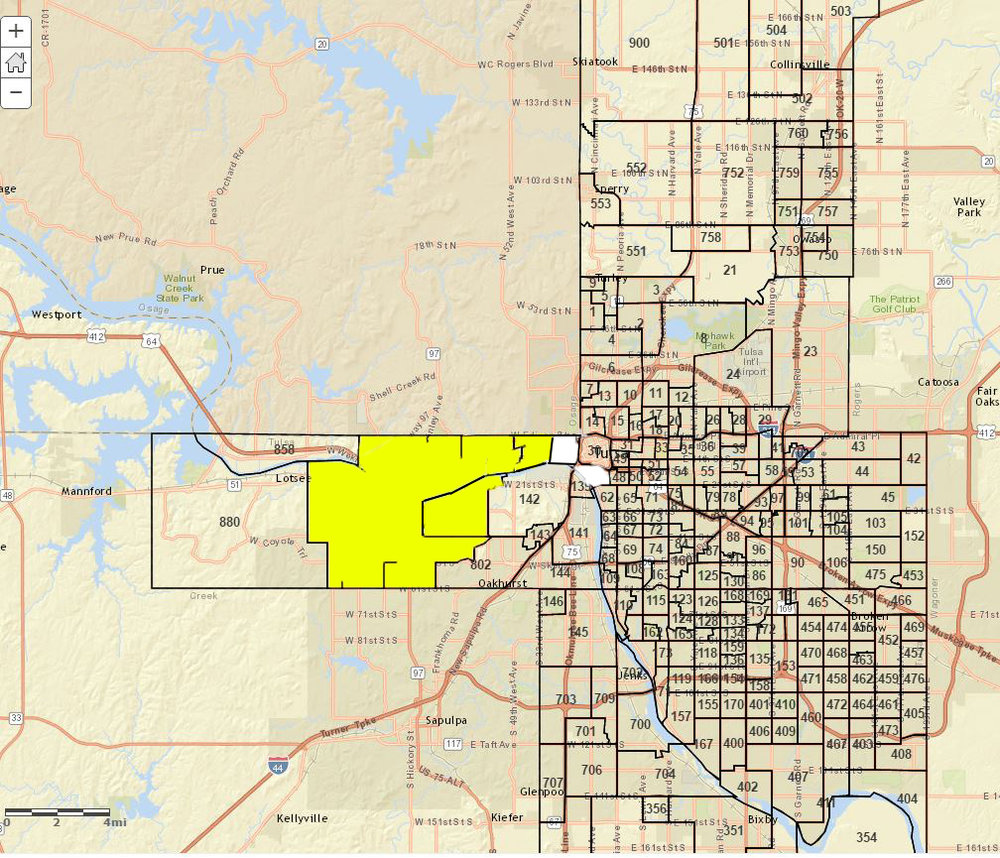 Precincts in yellow were won by Jadine Nollan, precincts in white were won by Dianna Phillips.