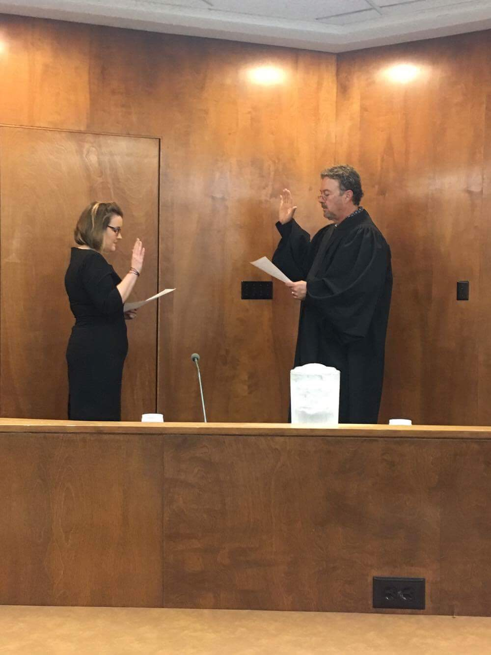 Ward 4 City Councilwoman Christine Hamner was sworn in by Municipal Judge Mike King at Monday night's City Council meeting. (Photo: Kasey St. John).
