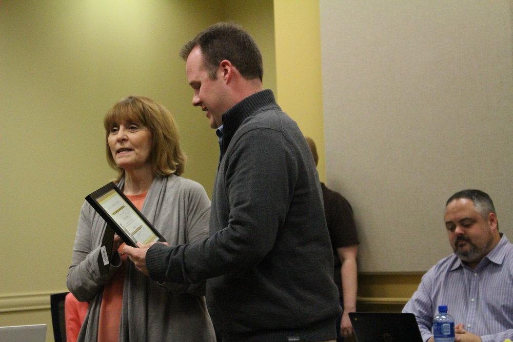 CPHS alumnus Rusty Vann is presented with the Sandite Spirit Award.